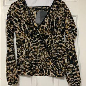 PJK leather trim blouse